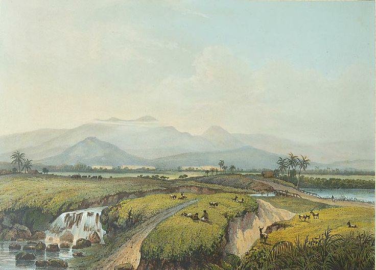 Uitzicht op het Kawische gebergte en op een tabaksonderneming. Abraham Salm, 1865-1872. papier, 26,3 x 36,1 cm