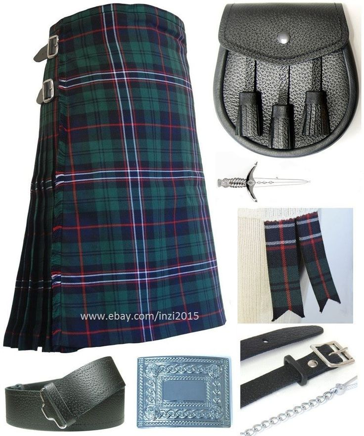 Mens Scottish 7 Piece Kilt Outfit with Sporran, Scottish National Tartan Kilt #Handmade