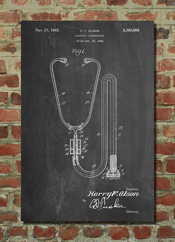 Stethoscope Poster Doctors Office Decor Nurse By PatentPrints