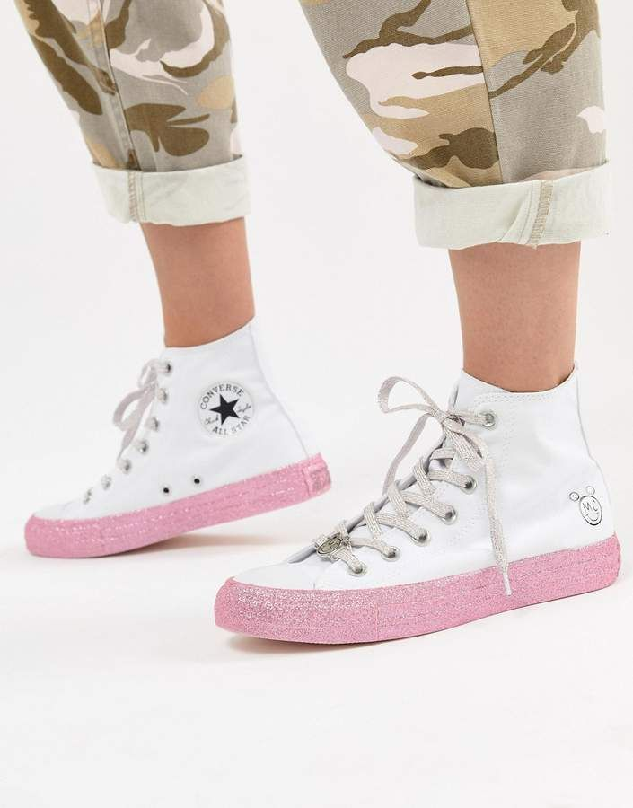 bd71161a19d3 Converse X Miley Cyrus Chuck Taylor All Star Hi Sneakers In White And  Silver Glitter