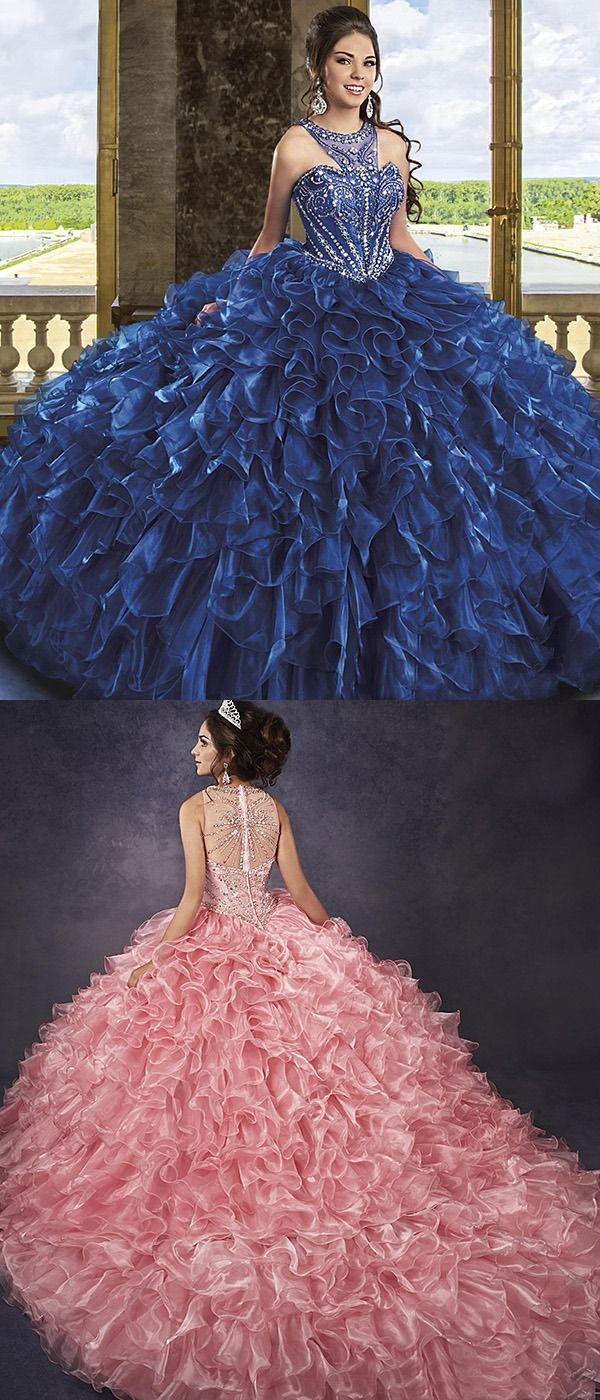 Navy Blue Organza Quinceanera Dress Beaded Jewel Puffy Ruffles Ball Gown Vestidos De Quinceanera Quinceane Quinceanera Dresses Quincenera Dresses Beaded Dress [ 1400 x 600 Pixel ]