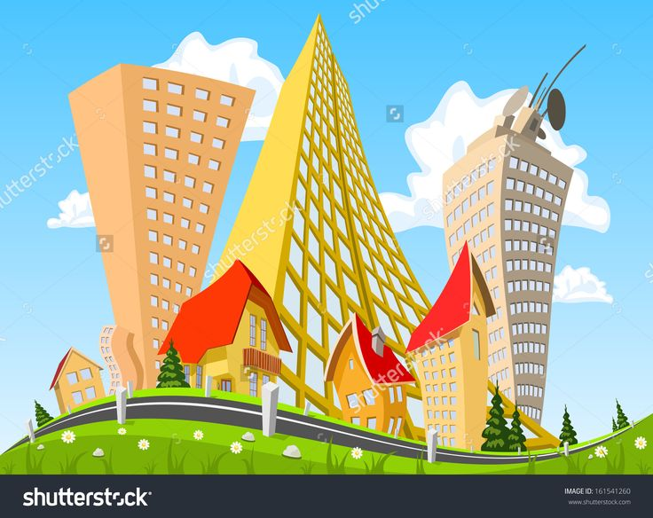 Vector City Surrounded By Nature Landscape. Vector Art - 161541260 : Shutterstock