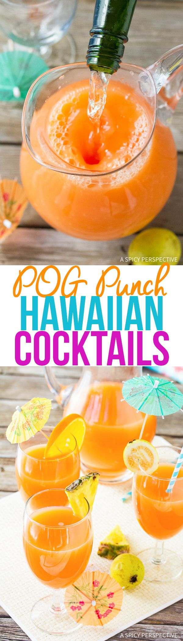 Turn a traditional POG juice into an exciting POG Punch Hawaiian Cocktail! This holiday punch will delight your guests and add a little tropical flair to your dinner party this week. via @spicyperspectiv
