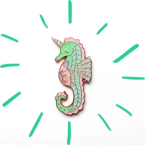 available now SEA UNICORN enamel badge lapel pin flair by Peachish