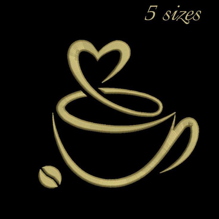Coffee Love machine embroidery design,coffee design,digital download, pattern,kitchen,mom,cuisine by GretaembroideryShop on Etsy