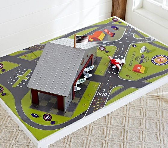 Airport Playmat - ideas for airport.  - hangar for his small airplanes. :) detach - blocks screwed to board, hangar fits over blocks to keep it from shifting during play?