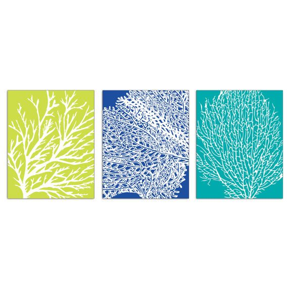 Underwater Sea Coral Collection (Series B) -Set of 3-8x10 - (Nautical Beach Inspired Theme) (Featured in Marine, Celery and Ocean Blue)