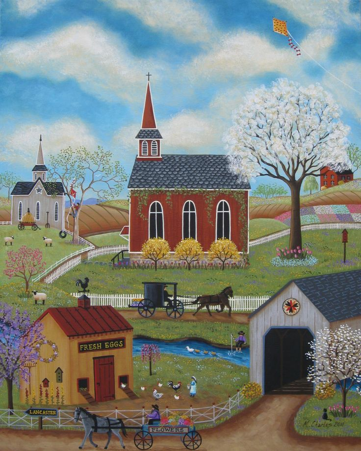 """Springtime"" Folk Art Painting by Mary Charles"
