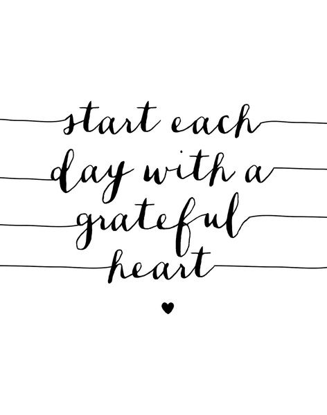 Star Each Day With a Grateful Heart Black and White Typography Print Art Print