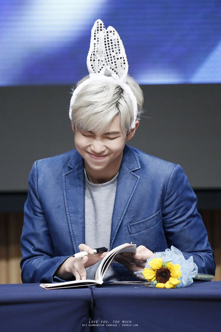 """""""Bunny-mon all day makes the fans blush with no say"""" #BTS #RapMonster #bangtan"""