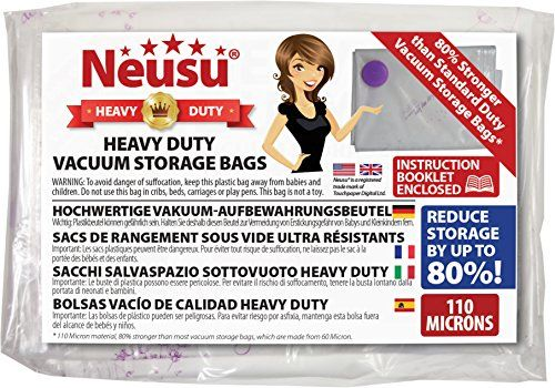 From 15.99 Neusu Large Vacuum Storage Bags - Heavy Duty Strong 110 Micron Quality - Compression Space Saving Bags For Bedding & Clothes - 5 Pack - 80cm X 60cm