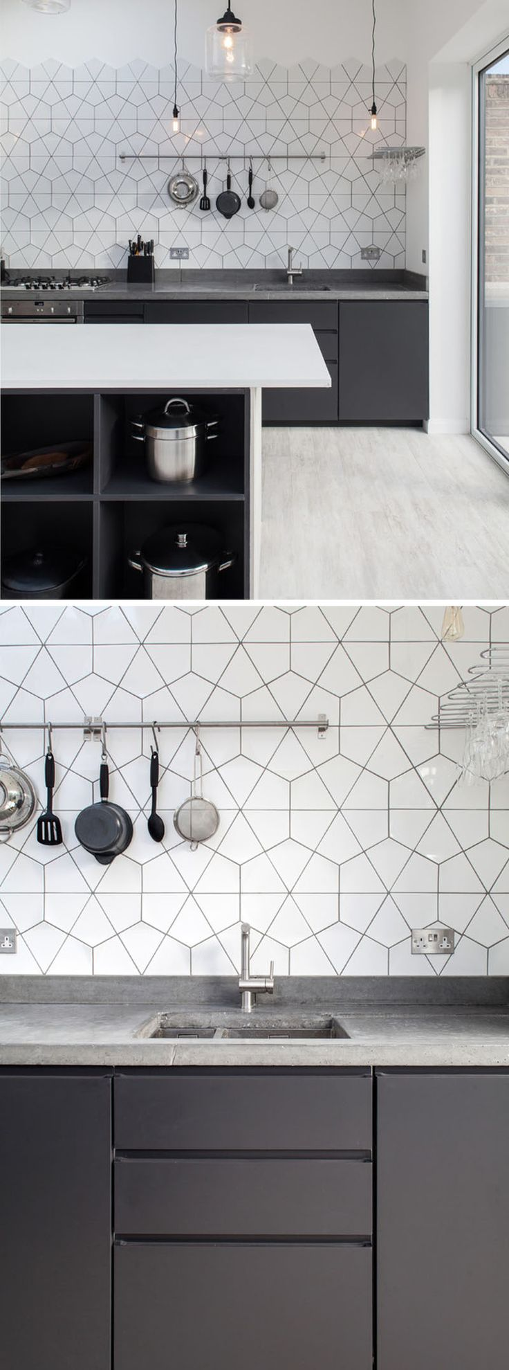 9 Inspirational Pictures Of Kitchens With Geometric Tiles // The white tiles and dark grout are in keeping with the rest of the color scheme in this concrete, grey, and white kitchen.