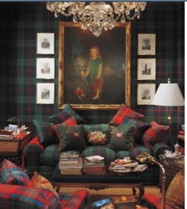 Over the top tartan living room interior design for Tartan living room ideas