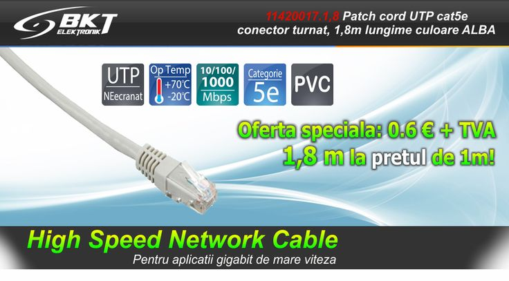 Echipamente pasive :: Patchcord-uri Retea :: Patch-cord-uri cat 5e :: Patch cord RJ45/RJ45 cat. 5E, UTP, conector turnat, Alb, 1,8 m