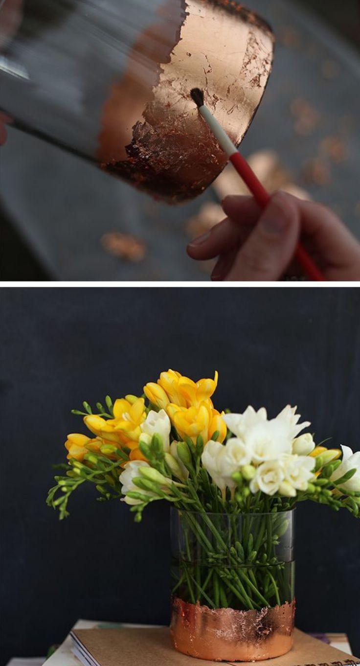 DIY Copper Leafed Glass Vase