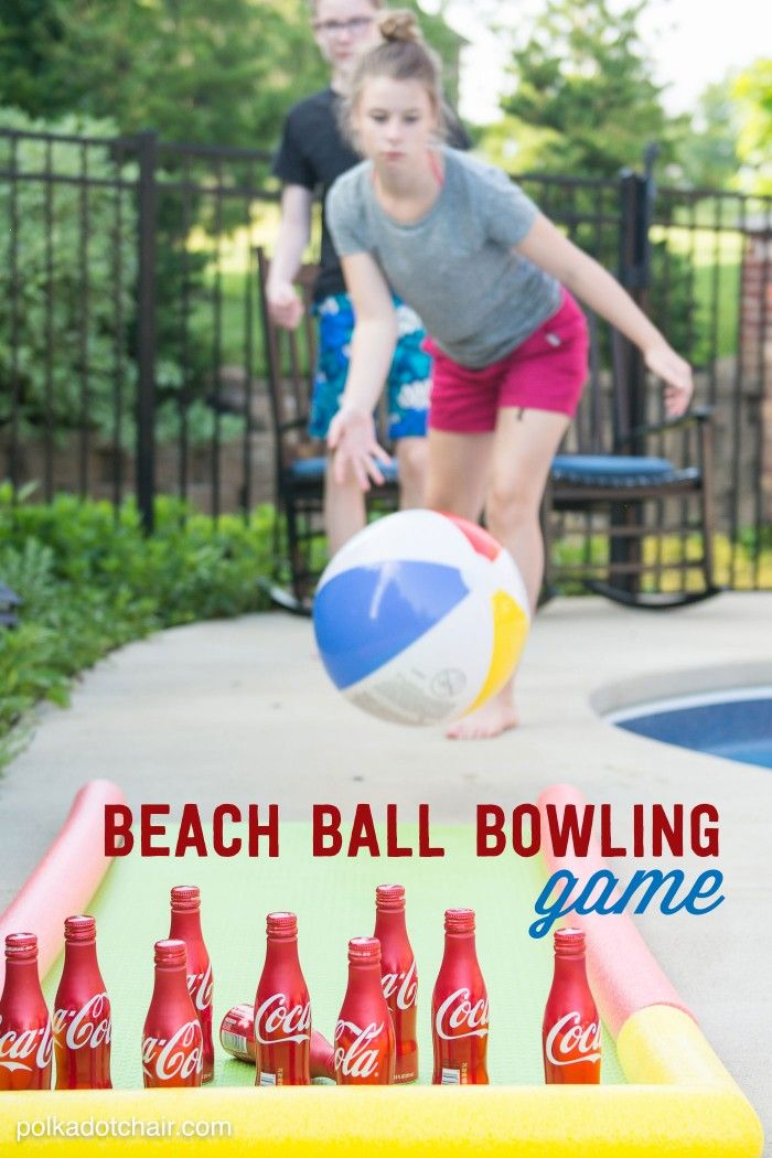 DIY Outdoor Bowling Game, made using Coke bottles, a yoga mat and pool noodles!! Great idea for a summer party.