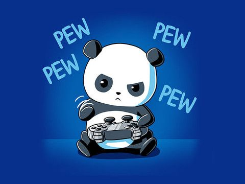 Cute Anime Gamer Wallpaper Pew Pew Panda Blue Funny Panda Drawing Panda Panda