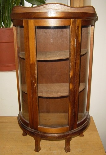 Small Vintage Wood Curved Glass Freestanding Tabletop
