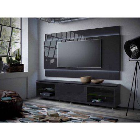 Manhattan Comfort Lincoln TV Stand with Silicon Casters and Lincoln Floating Wall TV Panel with LED Lights 2.4 for TVs up to 80 inch, Multiple Colors, Black