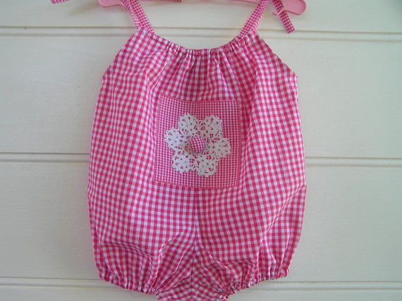 Girls rompers pink white gingham crochet summer by Shopatots