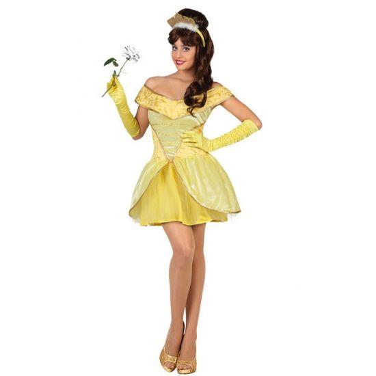 Gele prinsessenjurk voor dames. Kort geel prinsessen jurkje voor dames. In verschillende maten verkrijgbaar. Carnavalskleding 2015 #carnaval