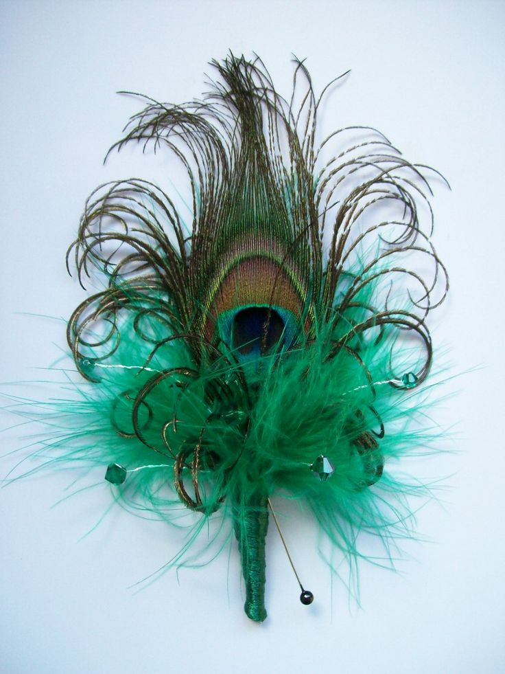 Peacock Feather Bouttoniere Buttonhole Corsage with Feathers Crystals Pearls Many Colours - Custom Made to Order. $9.00, via Etsy.