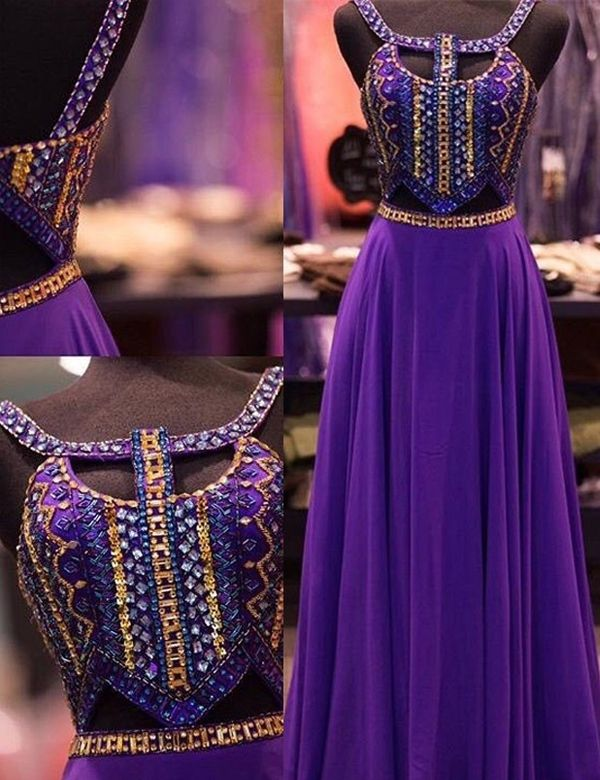 prom dress 2016, purple prom dresses, beaded long prom dress