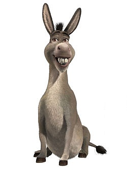 "Donkey, from Shrek.   ""For your information, there's a lot more to ogres than people think.   Example?   Okay, um, ogres are like onions.   {Sniffs} They stink?   Yes - - No!   They make you cry?   No!   Oh, you leave them in the sun they get all brown, start sproutin' little white hairs."""