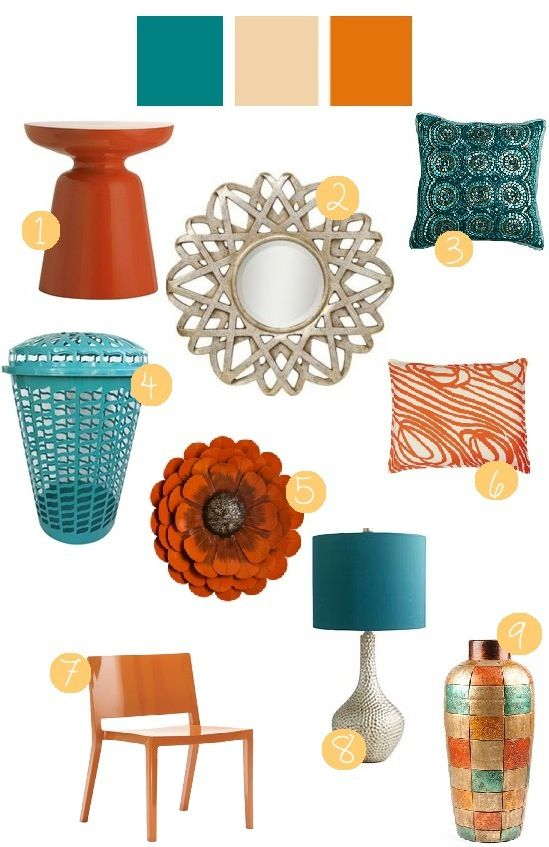 teal + tangerine room decor