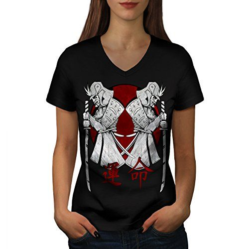 Japan Warrior Art Samurai Stand Women NEW Black L VNeck Tshirt  Wellcoda ** Read more reviews of the product by visiting the link on the image.