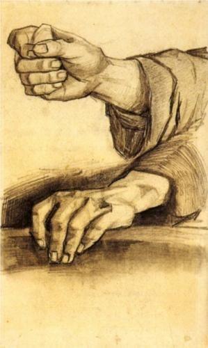 Vincent van Gogh ~ Two Hands, Pencil on laid paper Nuenen: December - May, 1884 - 85.  Van Gogh Museum- Amsterdam