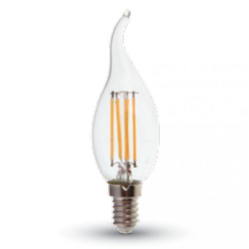 LED lámpa , égő , izzószálas hatás , gyertya , láng forma ,  E14 foglalat , 4 Watt , 300° , meleg fehér