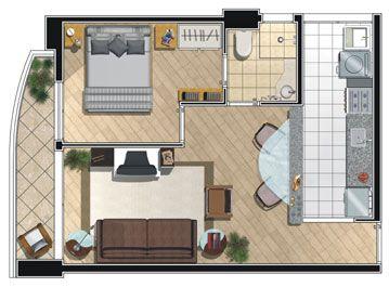 Resultado de imagem para casa pequena com quarto sala e cozinha integrados e banheiro