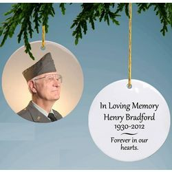 Personalized Funeral Ideas   personalized memorial photo ornament one side of this 2 75 memorial ...
