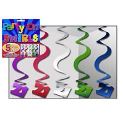 NH21A - Hanging Swirls - Pack of 5 Hanging Swirls 21 Assorted (Blue, Purple, Magenta, Green & Silver) - Pack of 5. Please note: approx. 14 day delivery