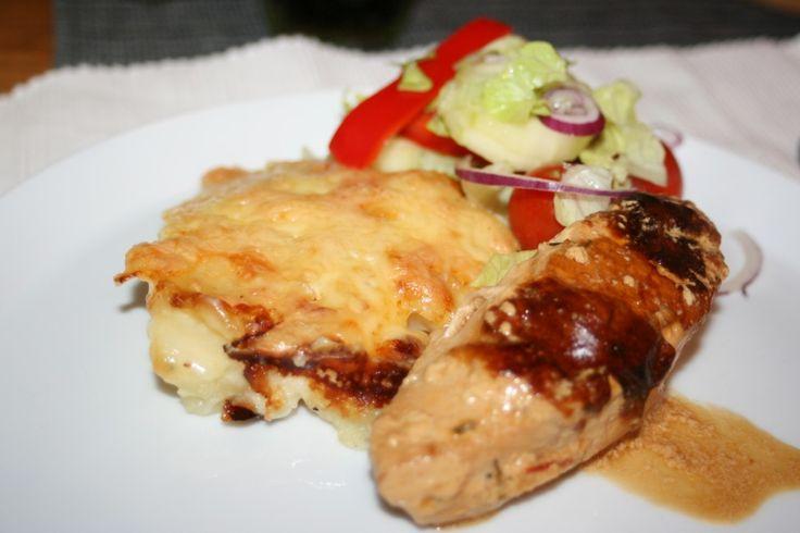 Kyckling i smakrik sås med konjak, gräslök och dijonsenap