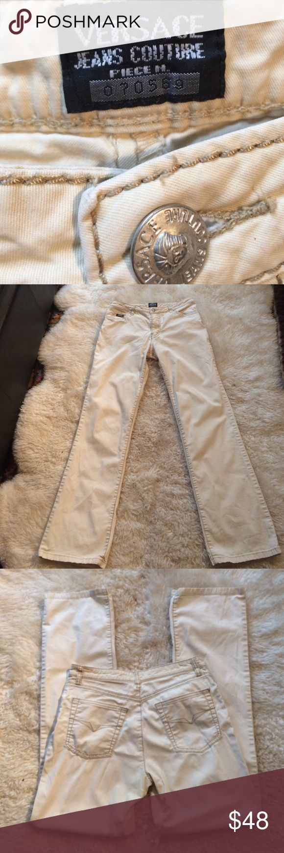 """Versace Jeans Couture beige jeans stunning Versace Jeans Couture beige jeans measured lying flat waist 28"""", inseam 30"""", rise 9 1/2"""" approx .  The feel of the pants is so soft stunning Versace Jeans Skinny"""
