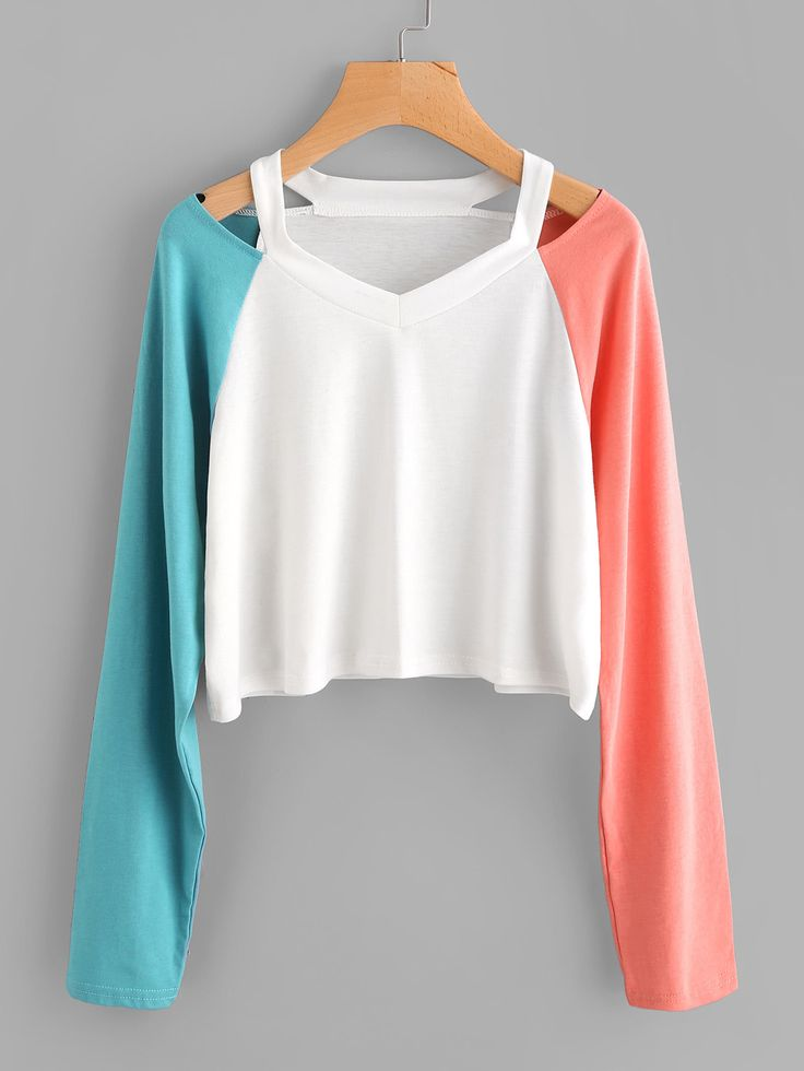 Contrast Raglan Ripped Neck Tee #fashion