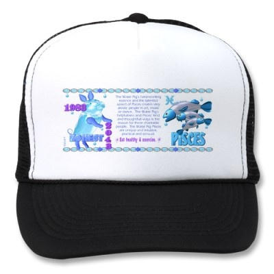 ValxArt 1983 2043 Zodiac water pig born Pisces Trucker Hat   by valxart for  $15.65  Valxart has many Zodiac designs including 12 zodiac, 12 zodiac cusp , 60 years of chinese zodiac , and 780 designs for 60 years of Chinese year zodiac combined with 12 zodiac designs with horoscope forecast . If you do not see the product , year or zodiac sign desired, contact Valxart at info@valx.us for links to desired products.