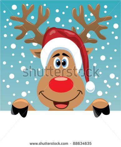 vector christmas illustration of reindeer holding blank paper for your text