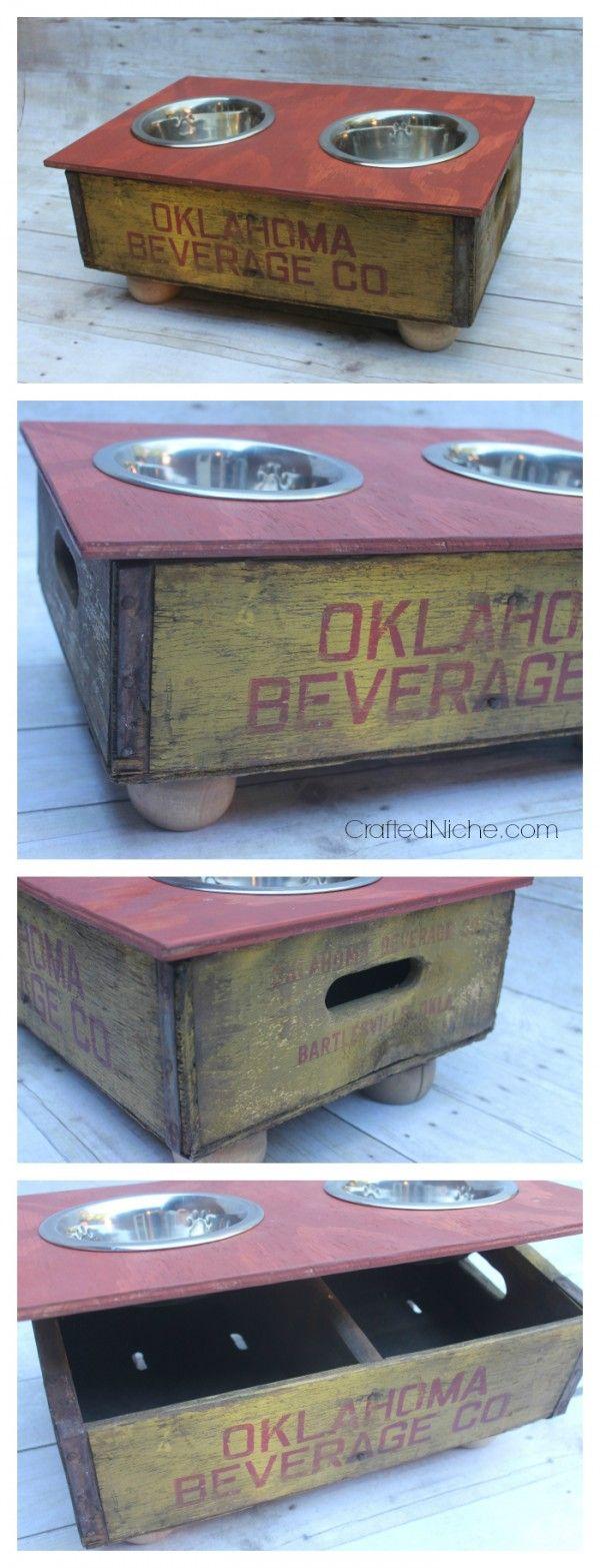 Soda Crate Dog Feeder from CraftedNiche.com