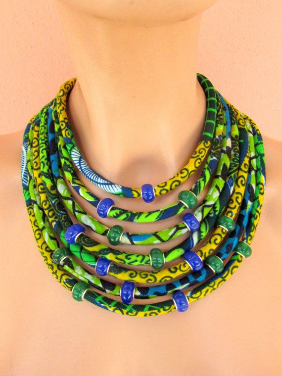 Ethnic jewelry african fabric necklace green and blue by nad205, $69.00