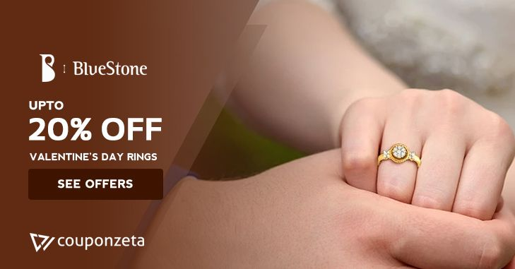 True love 💖 always sparkle! show your love this #valentinesday present her a beautiful piece of 💍jewellery @bluestone upto 20% off #diamond #couponzeta #offers