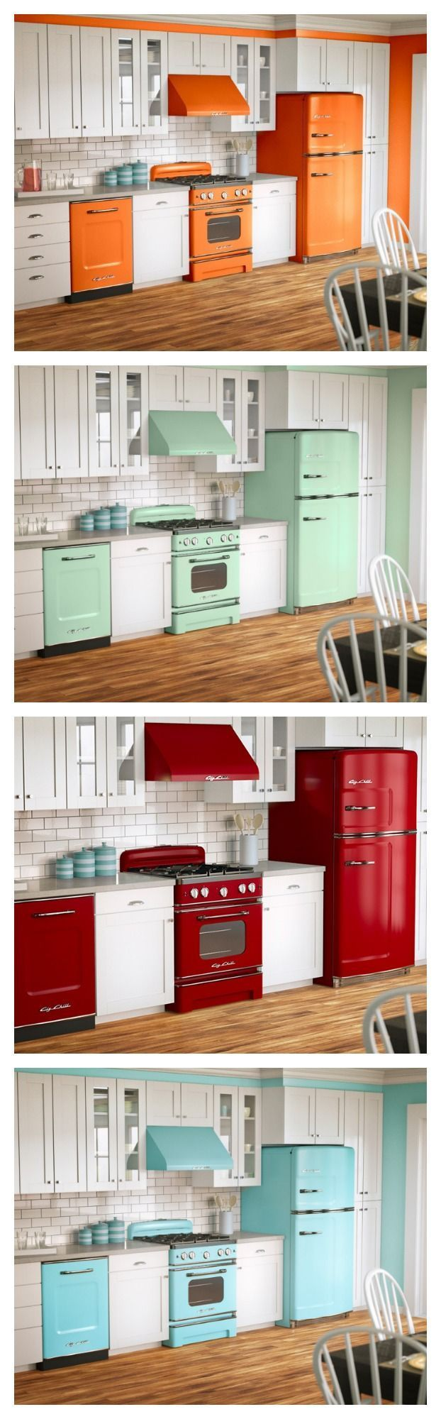 Fun colors, BIG style in a Retro design. Fall in love with your kitchen again with Big Chill!