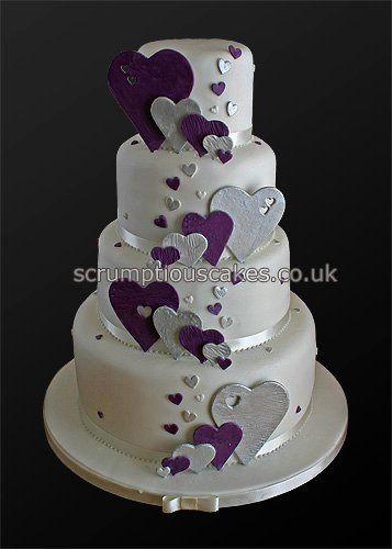 Wedding Cake (746) - Purple & Silver Hearts by Scrumptious Cakes (Paula-Jane), via Flickr