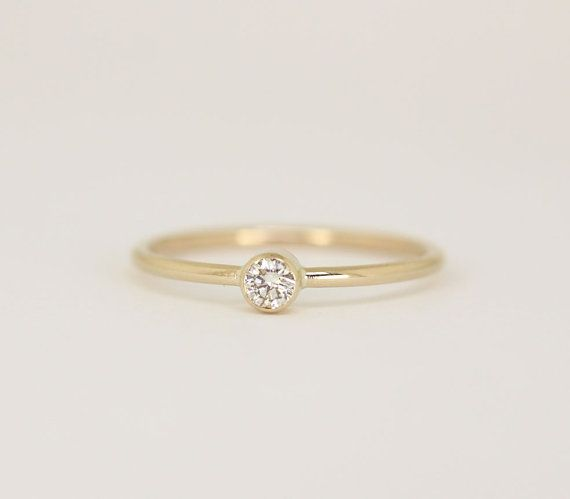 Round Diamond Engagement Ring In 14k Solid by SONGofDESIGNS