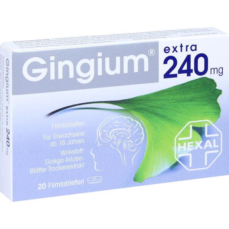 GINGIUM extra 240 mg Filmtabletten:   Packungsinhalt: 20 St Filmtabletten PZN: 06817802 Hersteller: Hexal AG Preis: 21,16 EUR inkl. 19 %…