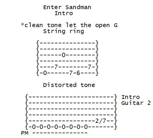 how to play enter sandman on guitar tabs