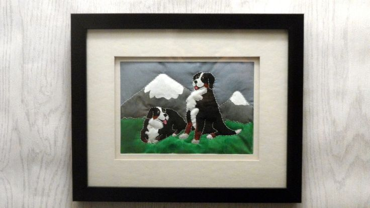 commission piece #bmd #bernese #berner #dog #puppy #mountain #picture #quilture #quilt