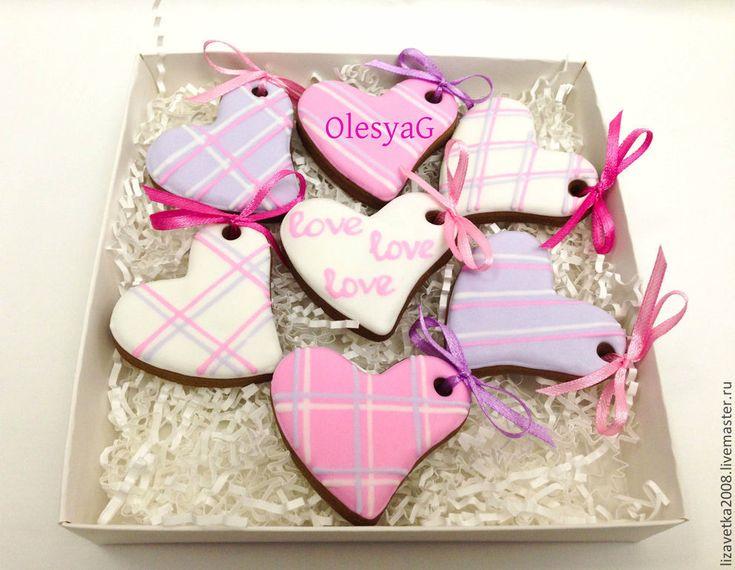 Купить Пряничный набор мини-сердечек - розовый, пряник, пряничное сердце, сердце